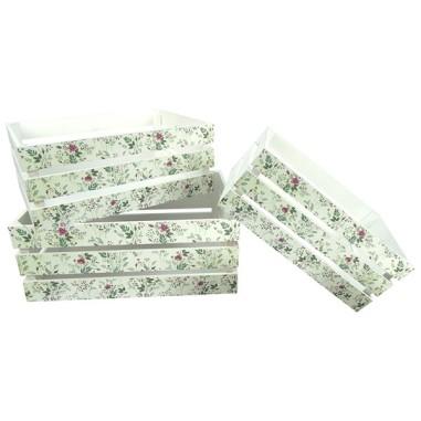 Caja de madera FLORES (3 Piezas)